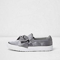 Grey satin bow front slip on plimsolls