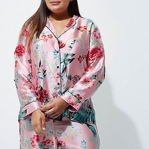 Plus pink satin jungle print pyjama shirt