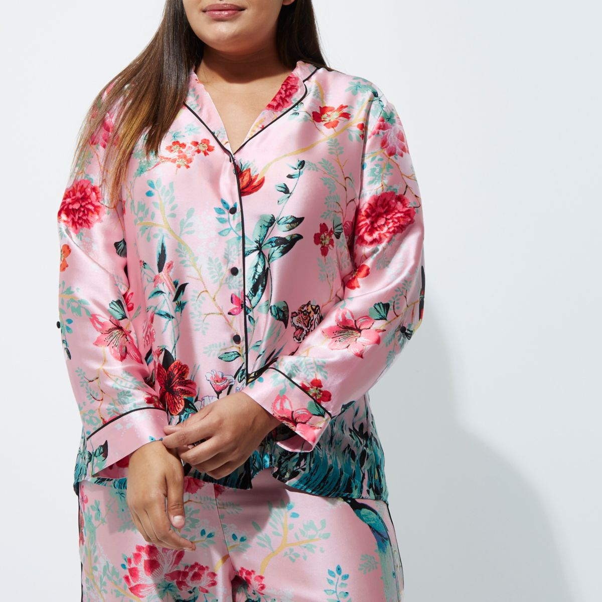 Plus pink satin jungle print pyjama shirt