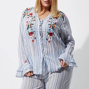 RI Plus - Blauwe gestreepte geborduurde pyjamatop
