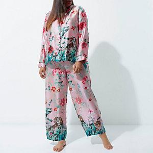 RI Plus - Roze satijnen pyjamabroek met jungleprint