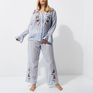 Plus blue stripe embroidered pyjama bottoms
