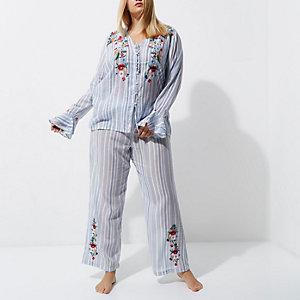 Plus – Bas de pyjama rayé bleu brodé