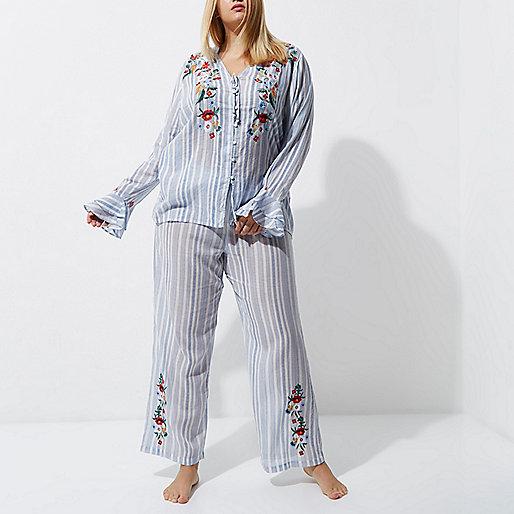 Plus blue stripe embroidered pyjama bottoms
