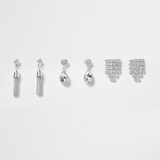Silver tone diamante drop earrings pack