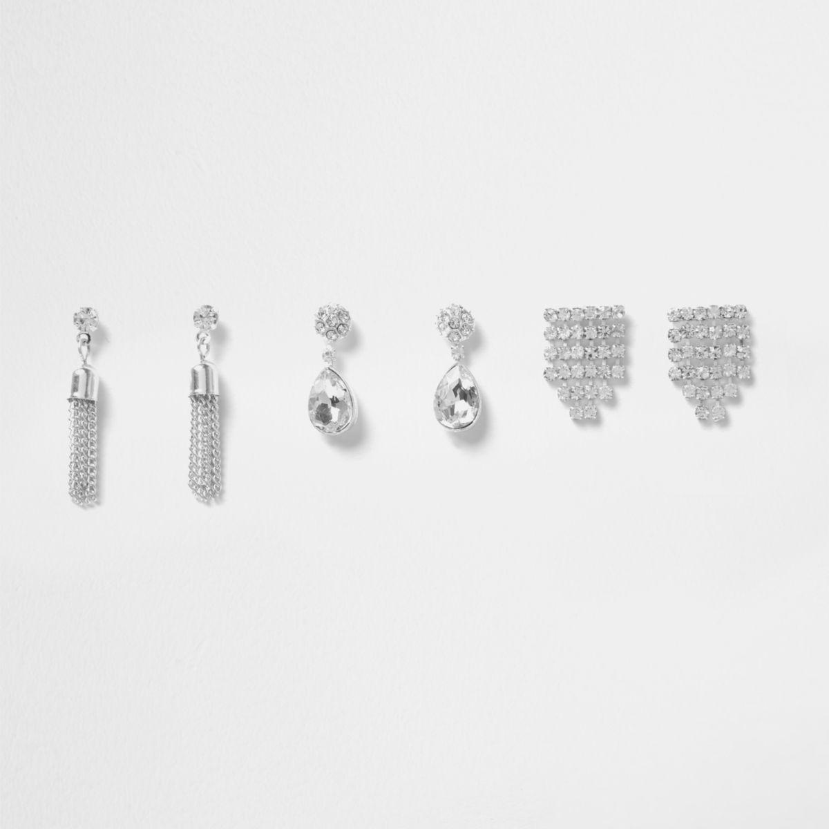 Silver tone rhinestone drop earrings pack