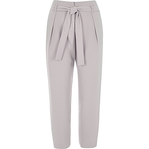 Light grey tie waist tapered pants