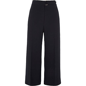 Navy wide leg belted culottes