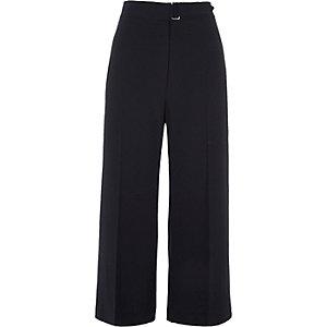 Pantalon coupe large bleu marine avec ceinture