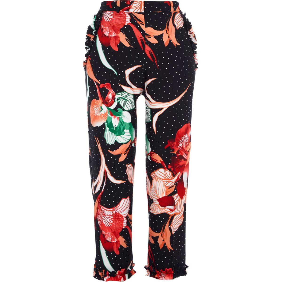 Pantalon cigarette à pois et fleurs noir