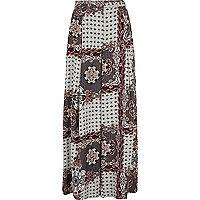 Grey scarf print wide leg pants