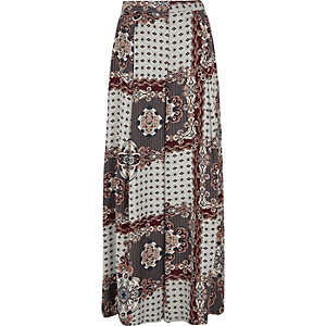 Grey scarf print wide leg trousers