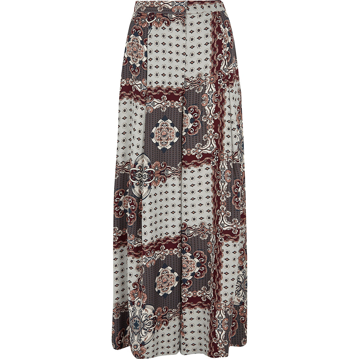 Grey scarf print wide leg pants