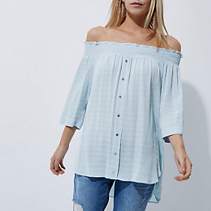 Petite blue shirred bardot shirt