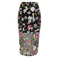 Black floral embroidered midi pencil skirt