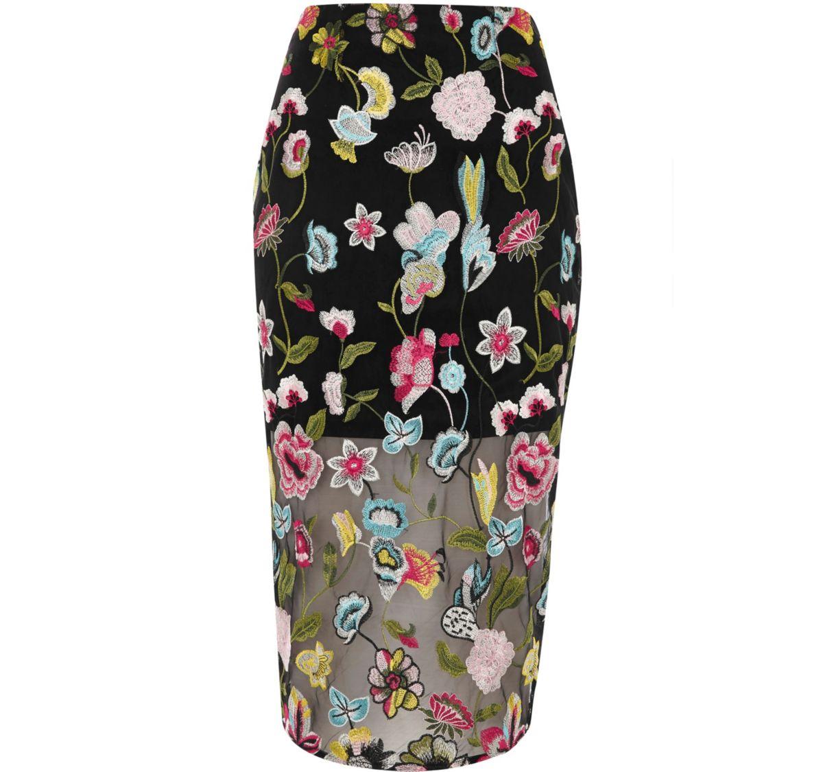 Black floral embroidered midi pencil skirt