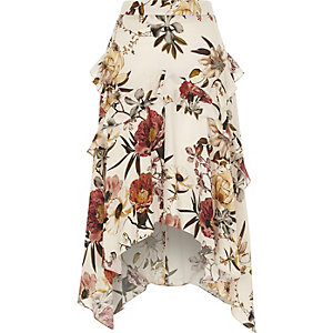 Cream floral frill asymmetric hem midi skirt