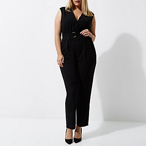 RI Plus - Zwarte mouwloze tailored jumpsuit