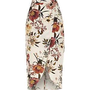 Cream floral print wrap front midi skirt