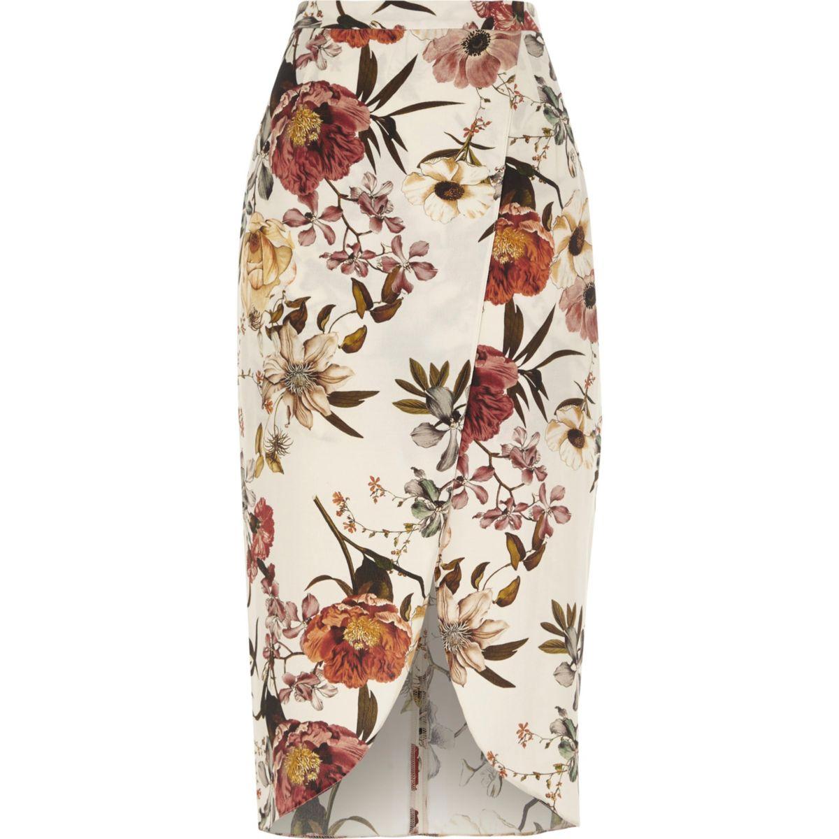 Cream floral print wrap front midi skirt