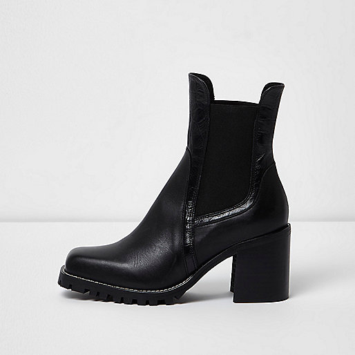 Black leather cleated block heel ankle boots