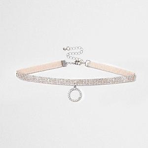 Light pink heatseal diamante circle choker