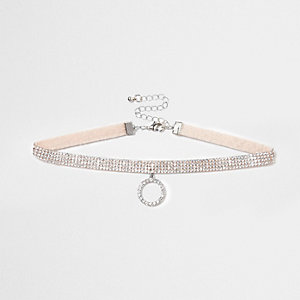 Light pink heatseal rhinestone circle choker