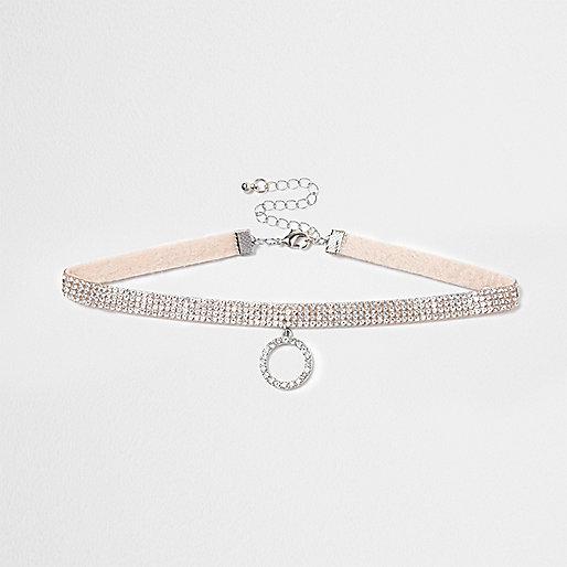 Light pink heatseal rhinestone circle choker