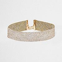 Goudkleurige heatseal chokerketting met studs en diamantjes