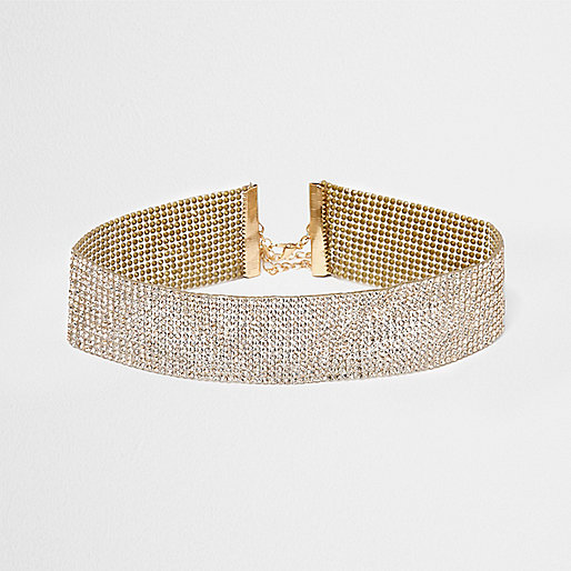 Gold tone heat seal studded diamante choker