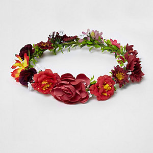 Red flower garland festival hair garland