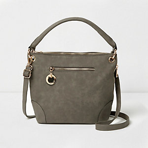 Grey underarm bucket bag