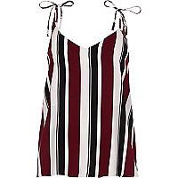 Purple stripe bow shoulder cami top