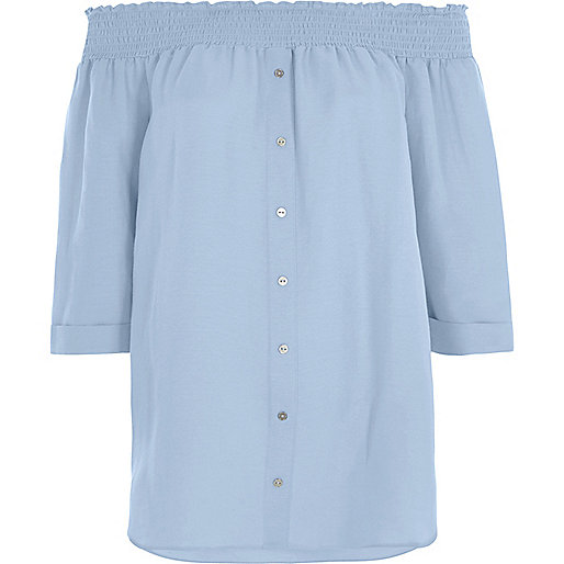 Light blue shirred bardot shirt