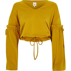 Dark yellow drawstring V neck top