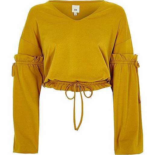 Dark yellow drawstring V neck top