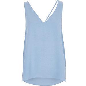 Blue asymmetric strap tank top