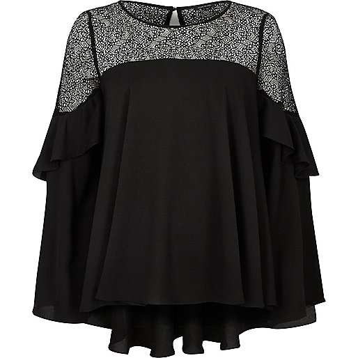 Black crepe lace flared long sleeve top