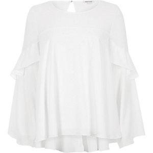 White mesh insert frill bell sleeve top
