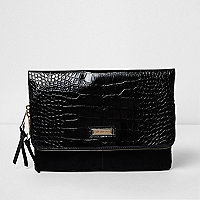 Black croc embossed flap foldover clutch bag