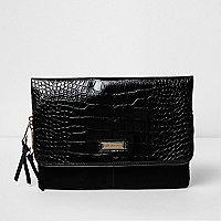 Pochette en cuir estampé effet peau de crocodile noire avec rabat