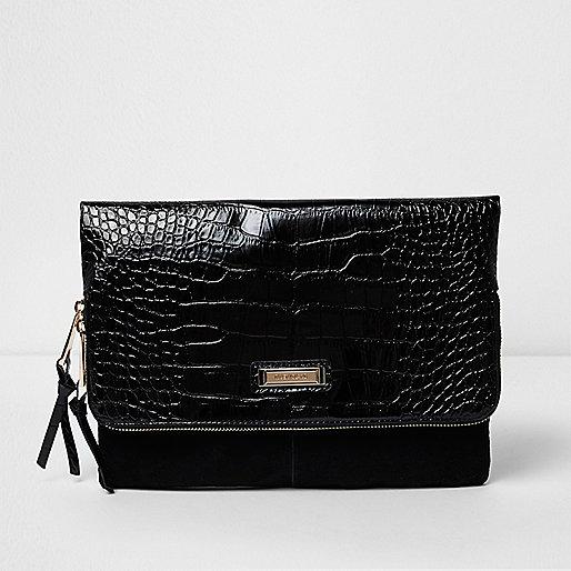 Black croc embossed flap foldover clutch bag