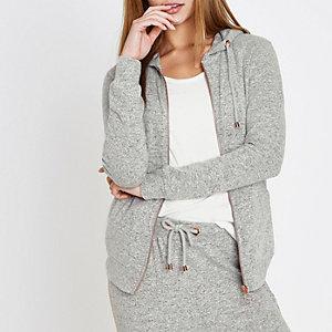 Sweat en jersey gris clair doux à capuche