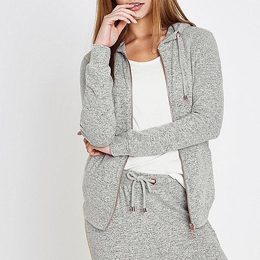Light grey soft jersey lounge hoodie