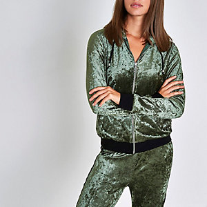 Khaki green velour zip up pajama hoodie