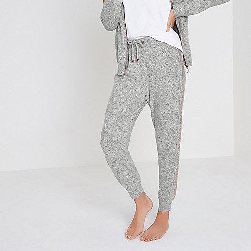 Light grey soft jersey jogger pyjama bottoms