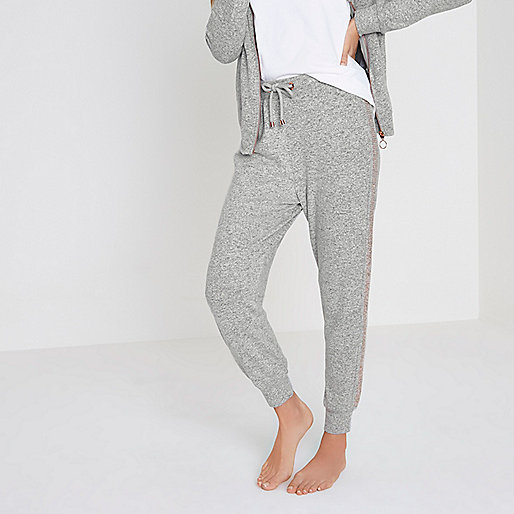 Light grey soft jersey jogger pajama bottoms