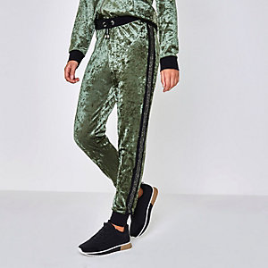 Khaki green velour heatseal pajama bottoms
