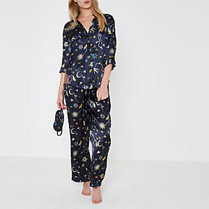 Navy satin jewel print pyjamas gift box