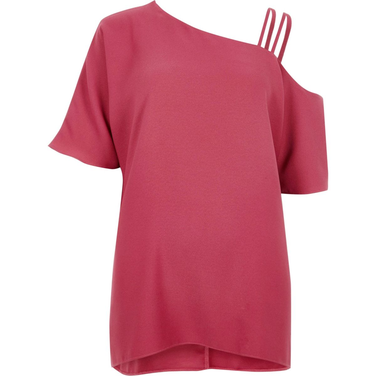 Pink asymmetric cold shoulder detail top